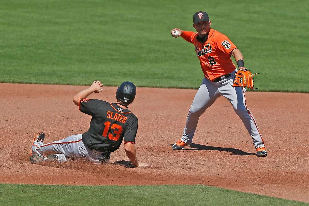 San Francisco Giants Yolmer Sanchez holds off his throw to first base in an intrasquad baseball game during summer camp at Oracle Park on Thursday, July 16, 2020, in San Francisco, Calif.