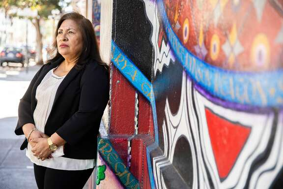 A portrait of Guillermina Castellanos outside the Women's Building on Saturday, July 11, 2020, in San Francisco, Calif. Castellanos, is the founder of the Women's Collective. She said many of her members, mostly nannies and housekeepers, are frightened of getting tested for the novel coronavirus because of the possibility of testing positive and being out of work. The city implemented the Right to Recovery program that will pay two weeks of minimum wage for people who test positive for the novel coronavirus.