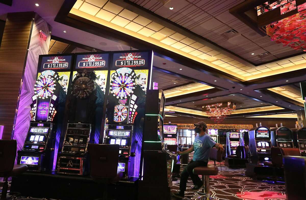 Gratton casino is open with several slot machines closed to encourage social distancing seen on Thursday, July 16, 2020, in Rohnert Park, Calif. Casinos remain open despite the governor's order closing other indoor entertainment venues.