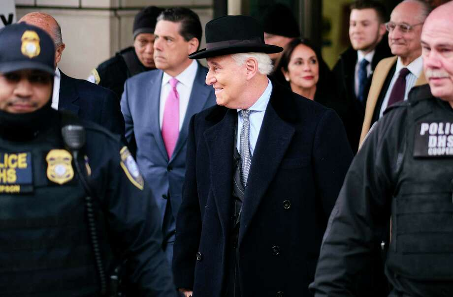 FILE -- Roger Stone, President Donald Trump's former adviser and longtime friend, departs a federal courthouse after his sentencing, in Washington, Feb. 20, 2020. Trump commuted Stone's sentence for seven felony crimes on July 10, according to the White House, days before Stone was to report to a federal prison to serve a 40-month term.  (T.J. Kirkpatrick/The New York Times) Photo: T.J. KIRKPATRICK, STR / NYT / NYTNS