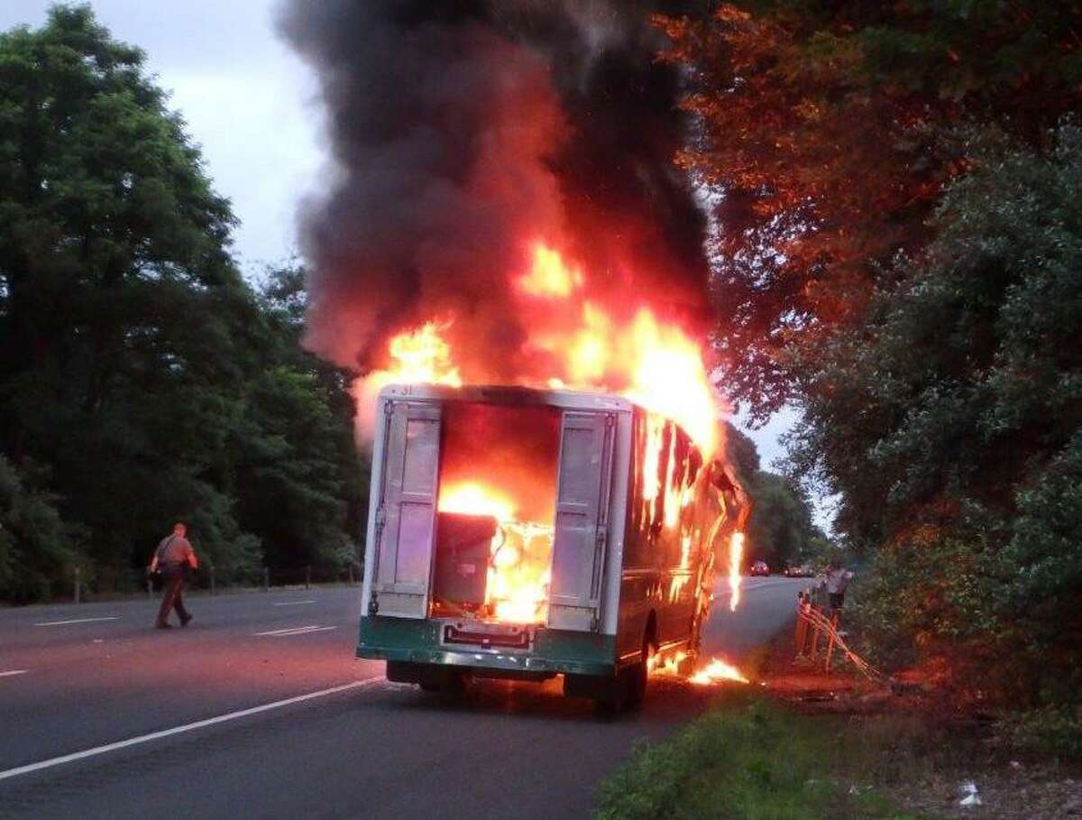 A linen truck fire on Route 8 on July 17 Friday temporarily closed the northbound area of the roadway between exits 12 and 13.