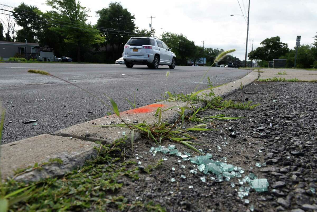 Scene of a fatal Central Avenue car crash on Friday, July 17, 2020, in Colonie, N.Y. Two men where killed and three others injured in a two vehicle crash at about midnight between Lombard and Rosewood streets near the entrance to Evergreen Memorial Park cemetery. (Will Waldron/Times Union)