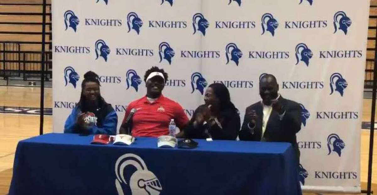 Episcopal High School offensive guard Donovan Jackson verbally committed to Ohio State University at a ceremony in January