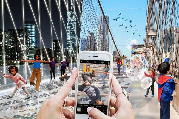 """""""Do Look Down,"""" a design by Shannon Hui, Kwans Kim, and Yujin Kim from Hong Kong, Bay Area, Calif. and New York re-imagining the Brooklyn Bridge."""