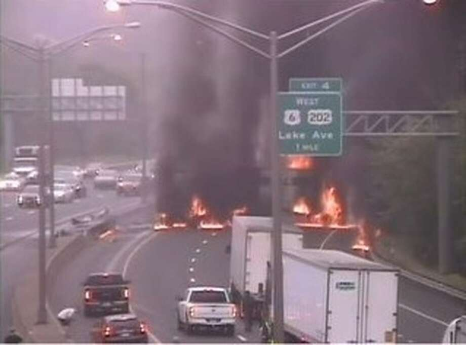 Traffic camera footage of the fiery crash on I-84 in Danbury, Conn., July 17, 2020. Photo: CT Travel Smart