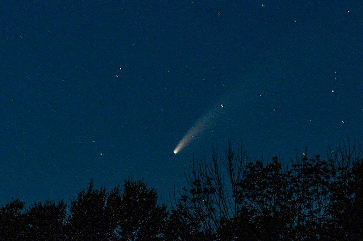 Comet Neowise viewed from Nicholdale Farm. The photo, posted on the Shelton Land Conservation Trust Facebook page, was taken at 9:40 p.m. on July 14 looking northwest.
