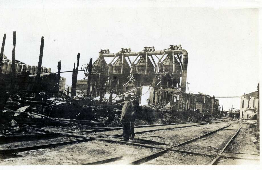 The ruins of the July 21, 1920 inferno at the Buckley & Douglas mill. Photo: Courtesy Photo/Manistee County Historical Museum