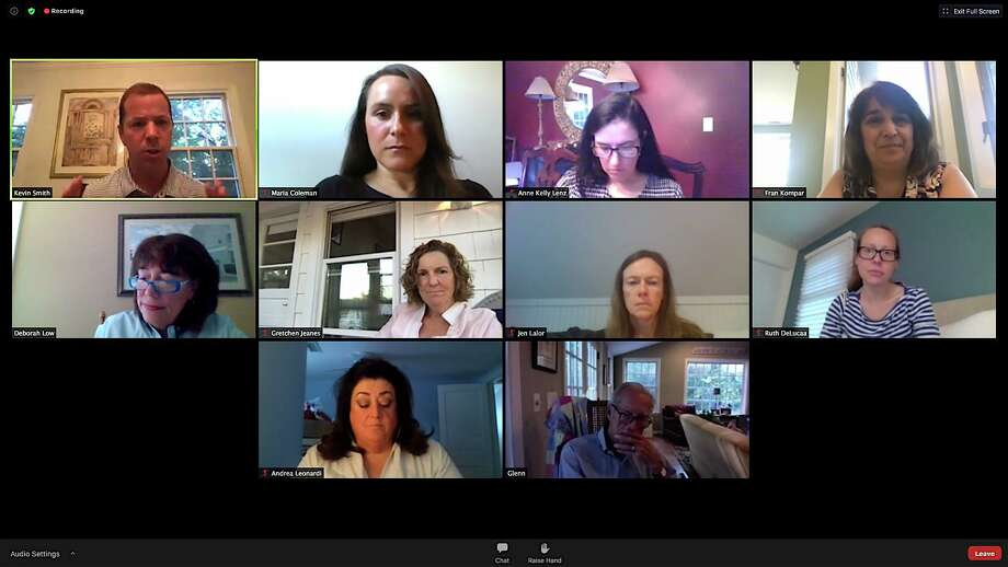 The Wilton Board of Education discusses the ramifications if more than 100 school staffers choose not to return in the fall. Top row, from left: Superintendent Kevn Smith, HR Director Maria Coleman, CFO Anne Kelly-Lenz, Director of Digital Learning Fran Kompar,. Second row: Board Chair Deborah Low, members Gretchen Jeanes, Jen Lalor and Ruth DeLuca. Bottom row: Assistant Superintendent for Special Services Andrea Leonardi and member Glenn Hemmerle. Photo: Jarret Liotta / For Hearst Connecticut Media / Wilton Bulletin
