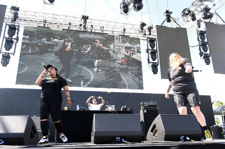 In this 2018 photo, rappers Blimes (L) and Gifted Gab (R) perform onstage during day 2 of Music Tastes Good Festival at Marina Green Park in Long Beach, California. Photo: Scott Dudelson/Getty Images / 2018 Scott Dudelson