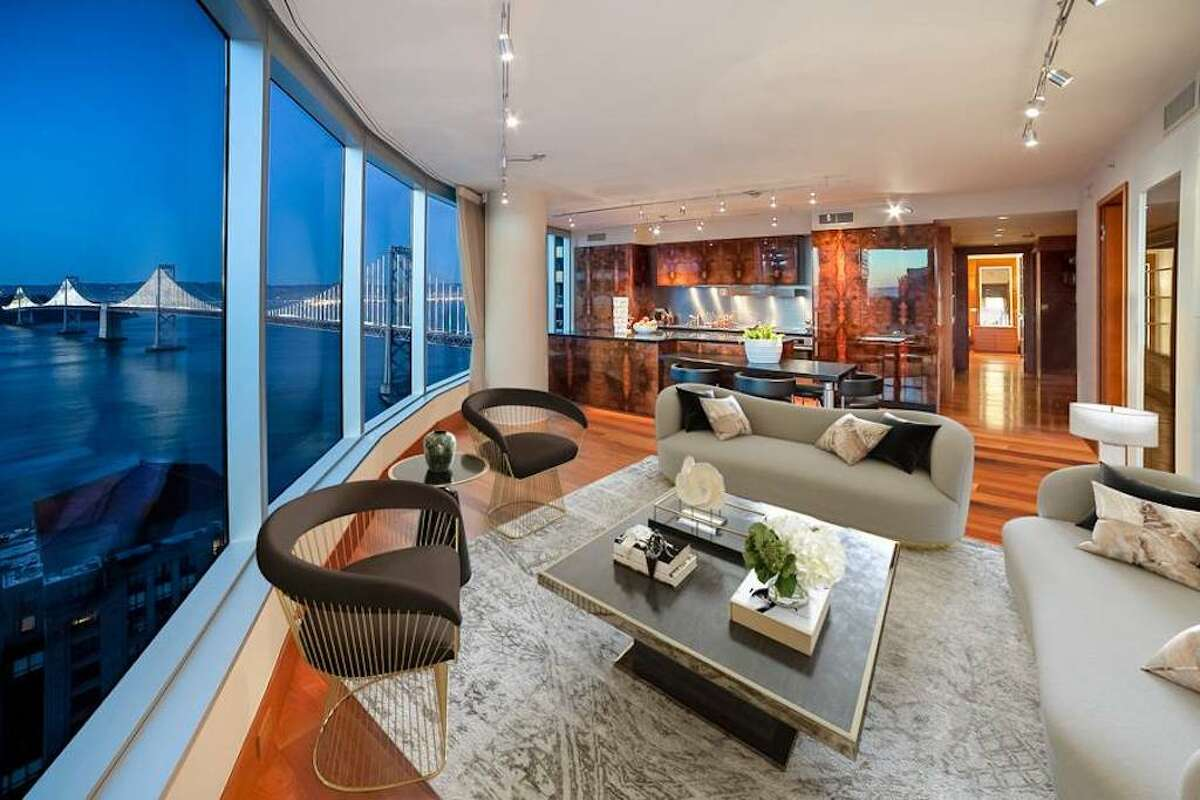 It has extensive Bay Bridge views from the living room, kitchen and at least two of the bedrooms.