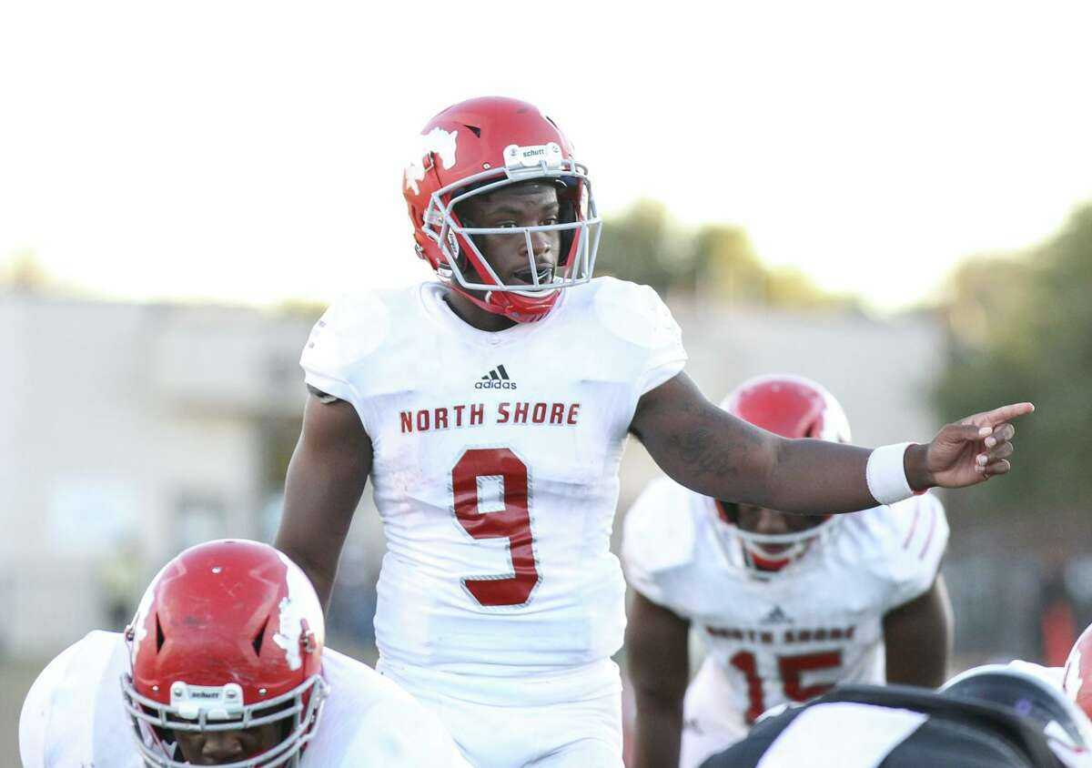 North Shore Mustangs quarterback Dematrius Davis Jr. (9) prepares for the snap during the first half of a high school state semifinal football game, Saturday, Dec. 14, 2019, in Round Rock, TX.