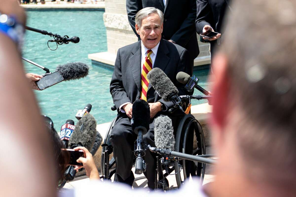 Texas Gov. Greg Abbott speaks to media during the final public viewing of George Floyd at the Fountain of Praise Church in Houston, Texas, United States on June 08, 2020.