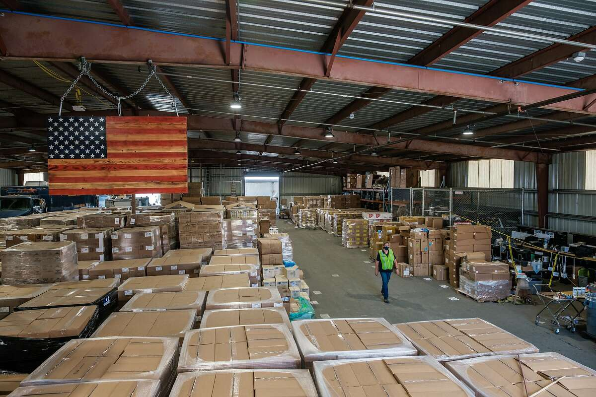 A general view of the Alameda County emergency services warehouse which holds PPE stockpiles for Alameda County in Dublin on Friday, July 10, 2020.