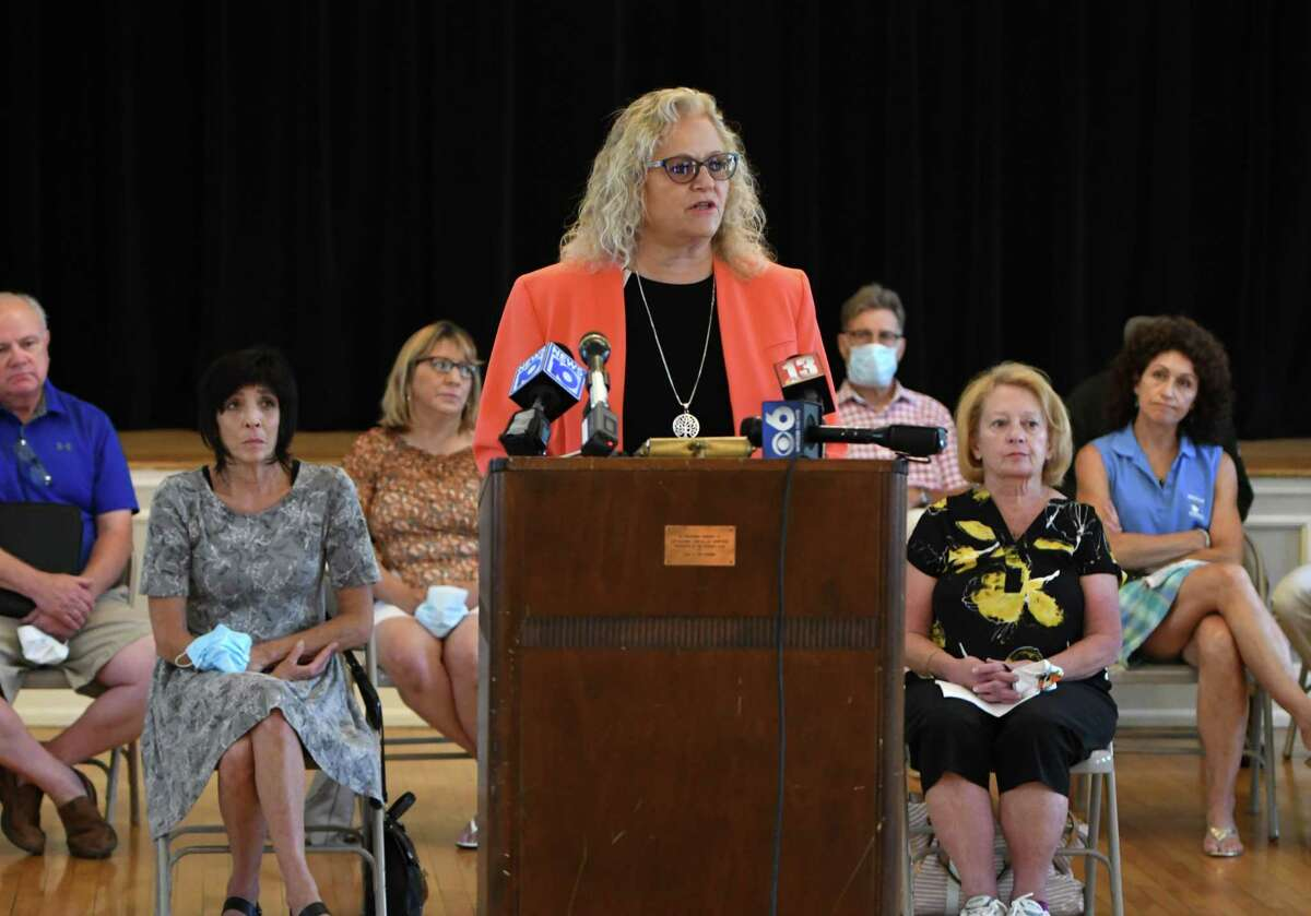 Attorney Cynthia LaFave addresses reporters during a news conference where family members of the Oct. 6, 2018 Schoharie limousine crash that killed 20 people, voiced their disappointment and frustration to the plea-bargain process in the prosecution of Nauman Hussain, the who operated the company that owned the limo. She spoke during a gathering Friday, July 17, 2020, at the The Century Club in Amsterdam. (Will Waldron/Times Union)