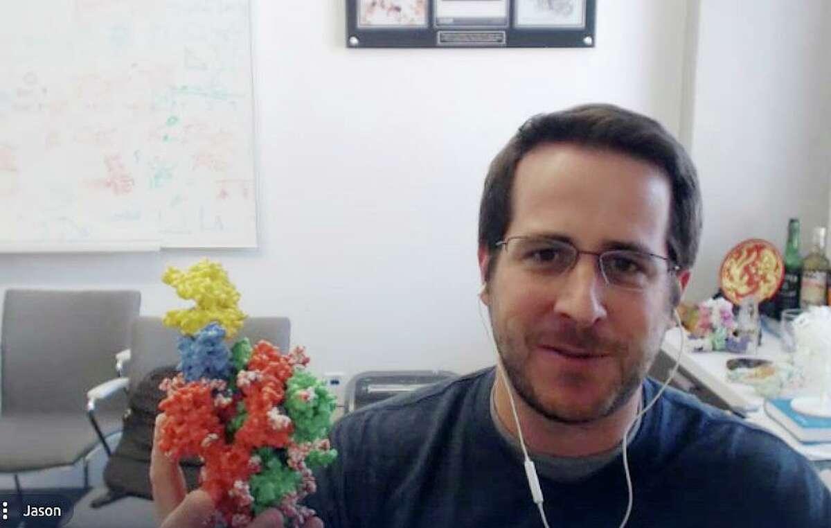 UT-Austin bioscience researcher Jason McClellan shows a 3D model of the