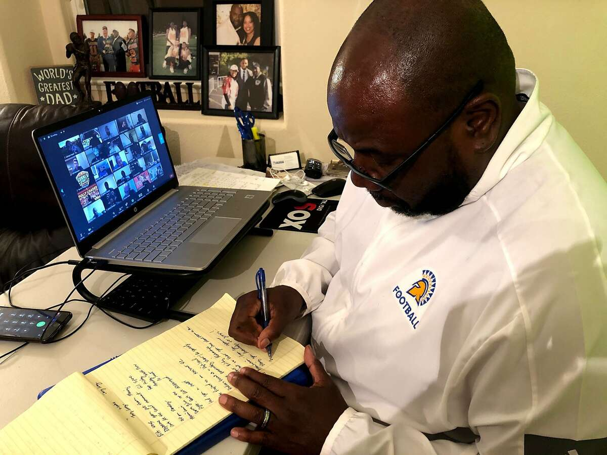 San Jose State assistant football coach Alonzo Carter participates in a weekly networking Zoom call.