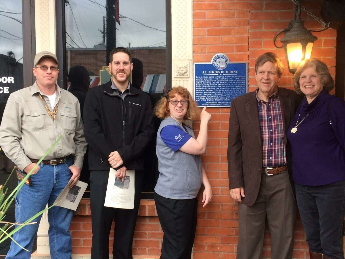 Pictured is the Hicks family at the unveiling of a new Montgomery County Historical Marker for the J.L. Hicks building in downtown Conroe in January 2017. Pictured from left are Matt, Paul, Wendy, John and Carol Hicks. John Hicks is the grandson of Dr. J.L. Hicks