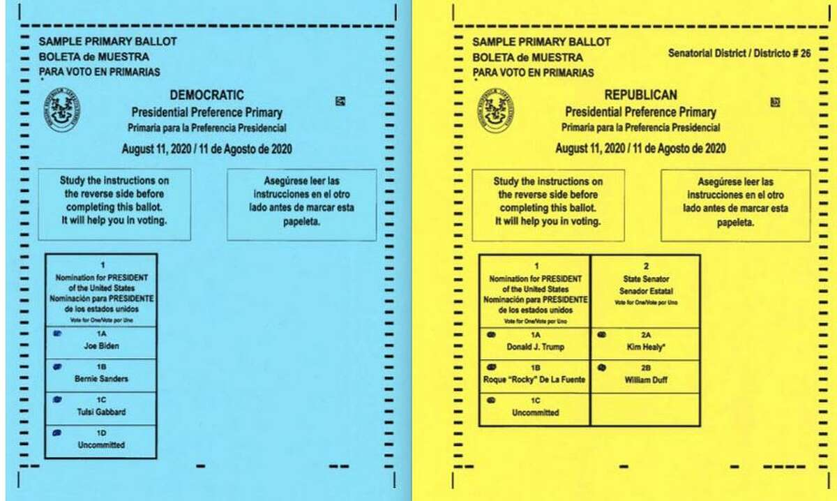Samples of the Wilton Democratic and Republican ballots for the Presidential Preference Primary on Tuesday, Aug. 11.