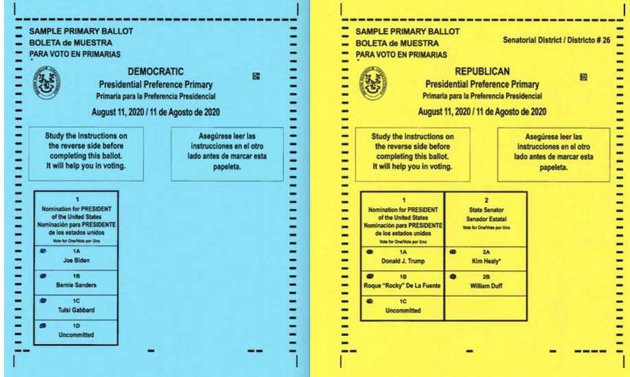 Samples of the Wilton Democratic and Republican ballots for the Presidential Preference Primary on Tuesday, Aug. 11. Photo: Contributed Photo