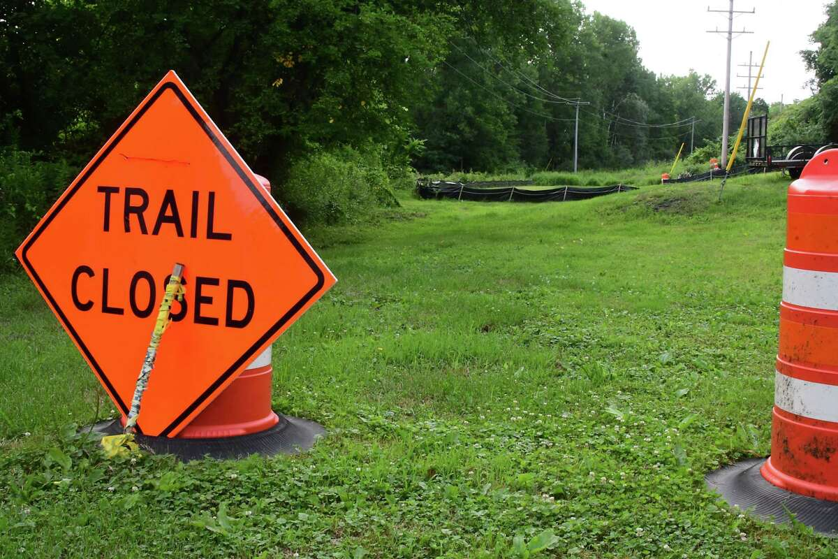 A trail closed sign is posted at the intersection of Maryland and Southern Aves. in Hampton Manor as the Electric Trolley trail is under construction on Friday July 10, 2020 in East Greenbush, N.Y. (Lori Van Buren/Times Union)