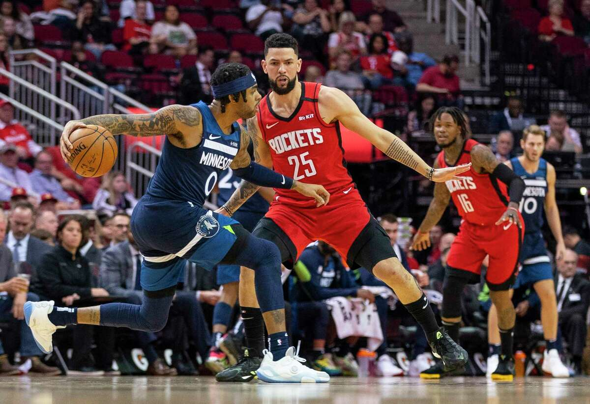 Defense has been a priority so far in camp in Orlando for the Rockets and Austin Rivers, guarding D'Angelo Russell in the last game before the league shutdown.