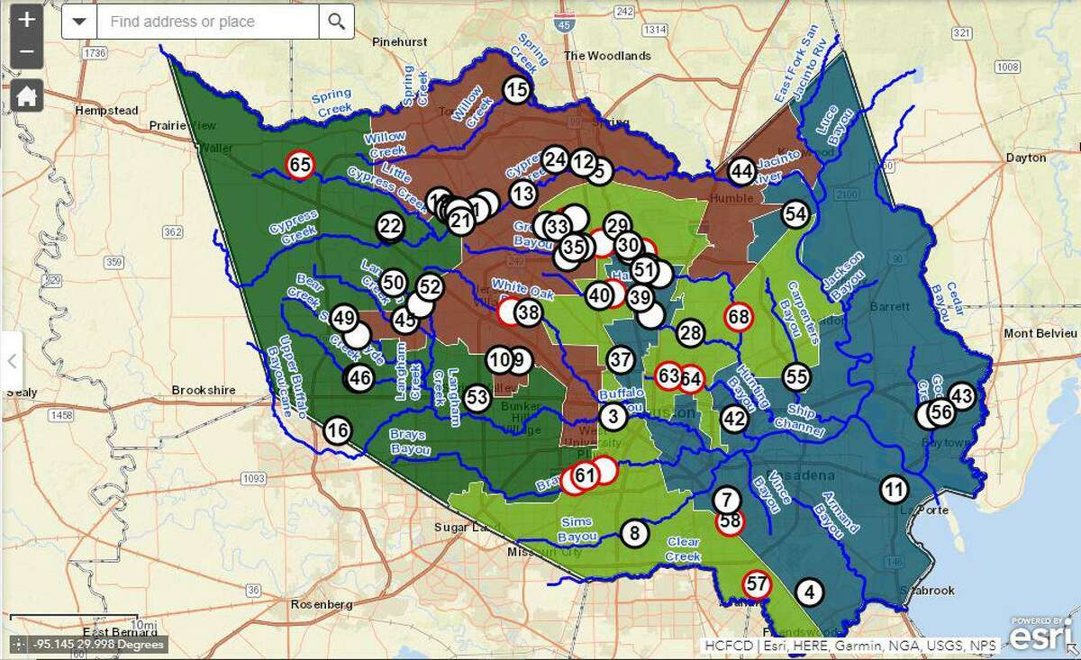 A map of the watershed in Harris County and flood control district projects ongoing in them.