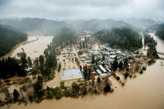 Floodwaters inundate Guerneville, Calif., as the Russian River overflows its banks on Wednesday, Feb. 27, 2019.