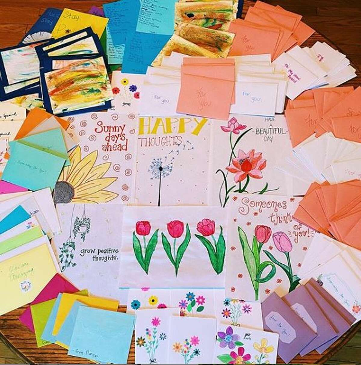 The cards sent to nursing homes throughout the Capital Region from the Tulip Project.