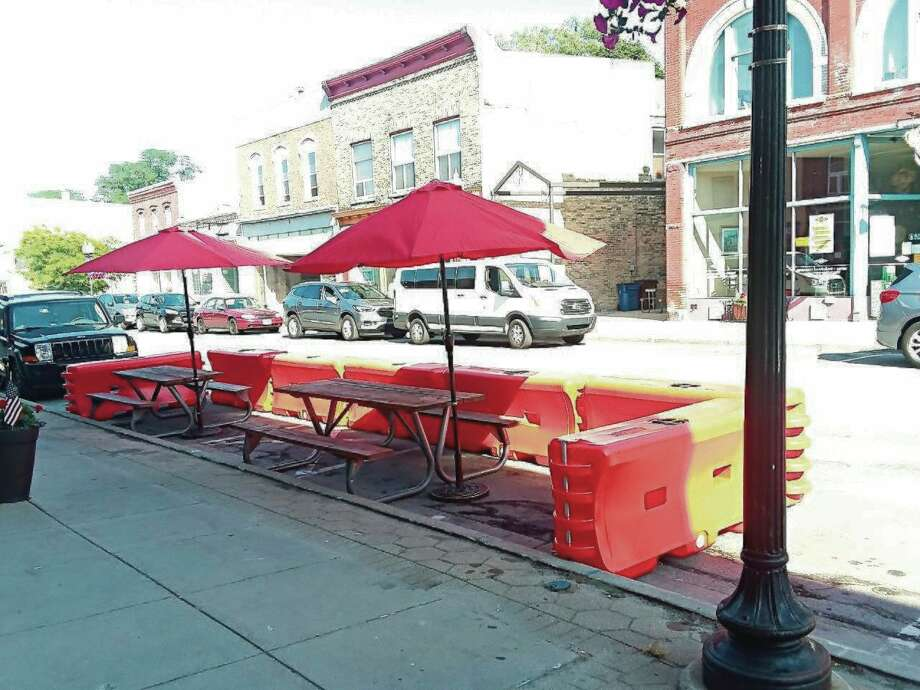 "One restaurant taking part in the Manistee Area Chamber of Commerce ""Downtown Reinvigoration Plan"" that will allow for additional outdoor seating is Taco 'Bout It. (File photo)"