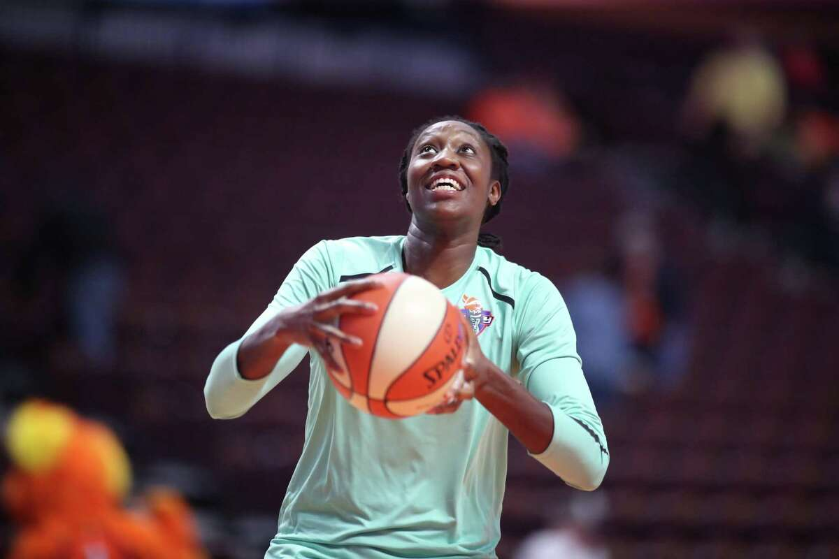 UNCASVILLE, CONNECTICUT- May 7: Tina Charles #31 of the New York Liberty during warm up before the Dallas Wings Vs New York Liberty, WNBA pre season game at Mohegan Sun Arena on May 7, 2018 in Uncasville, Connecticut. (Photo by Tim Clayton/Corbis via Getty Images)