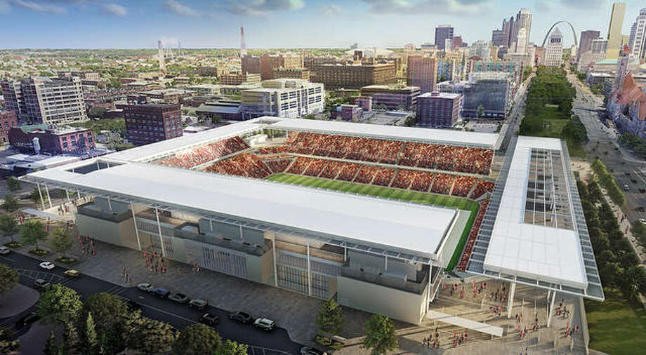 A rendering of the new Major League Soccer stadium, which is being built opposite Saint Louis Union Station. The new expansion MLS St. Louis team was to debut in the stadium in 2022, but that has been set back a year because of the COVID-19 pandemic. Photo: MLS4TheLou