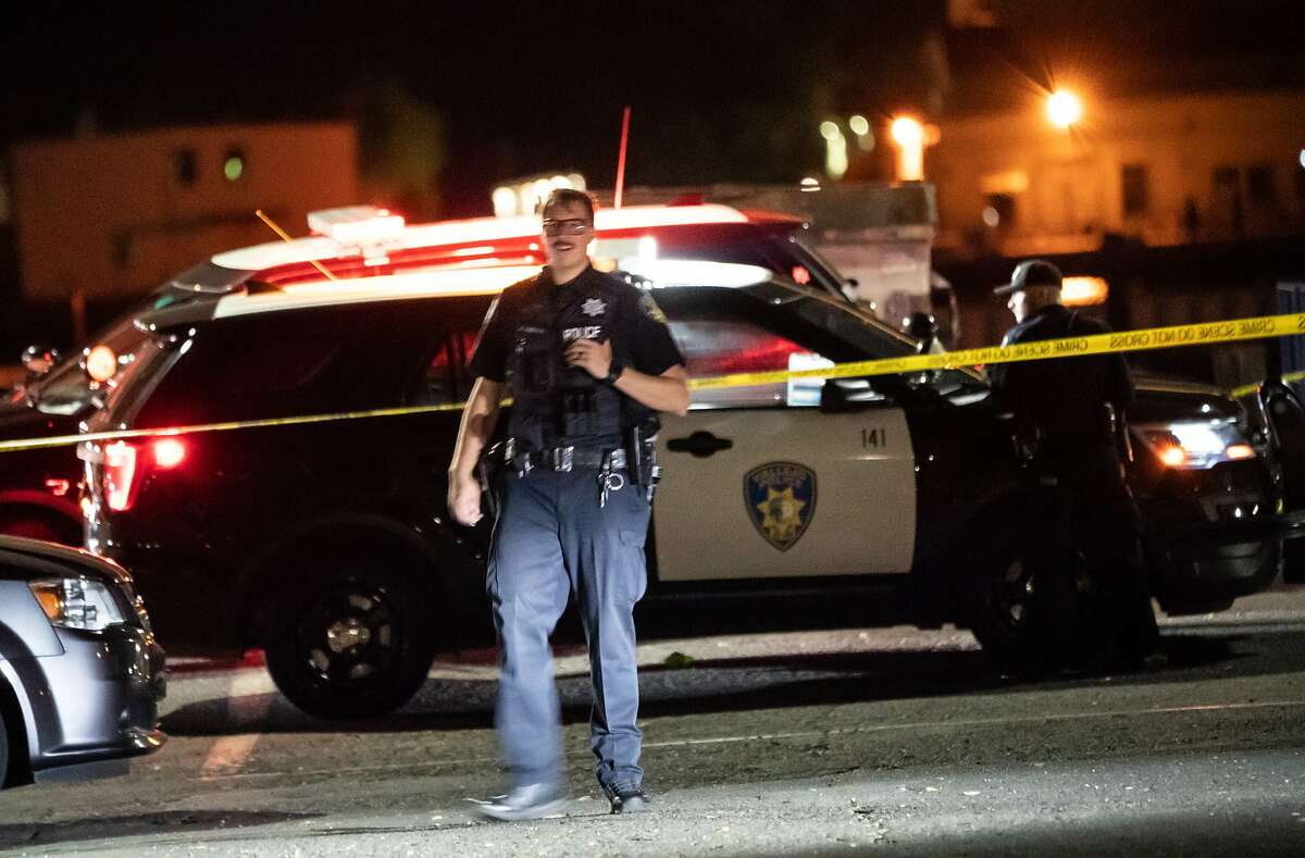 A Vallejo Police Officer at the scene of a possible homicide at the Marina which may become the city's 14th homicide outpacing all of last year of twelve on Thursday, July 16, 2020 in Vallejo, Calif.