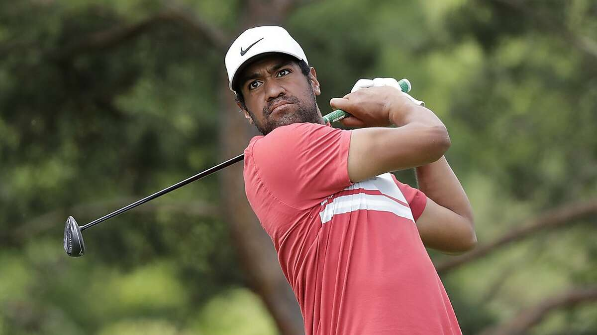 Tony Finau hits from the second tee during the second round of the Memorial golf tournament, Friday, July 17, 2020, in Dublin, Ohio. He co-leads the tournament halfway through.