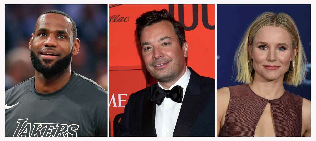 This combination photo shows, from left, Los Angeles Lakers forward LeBron James before an NBA basketball game on Jan. 22, 2020, in New York, Jimmy Fallon at the Time 100 Gala on April 23, 2019, in New York and Kristen Bell at the world premiere of