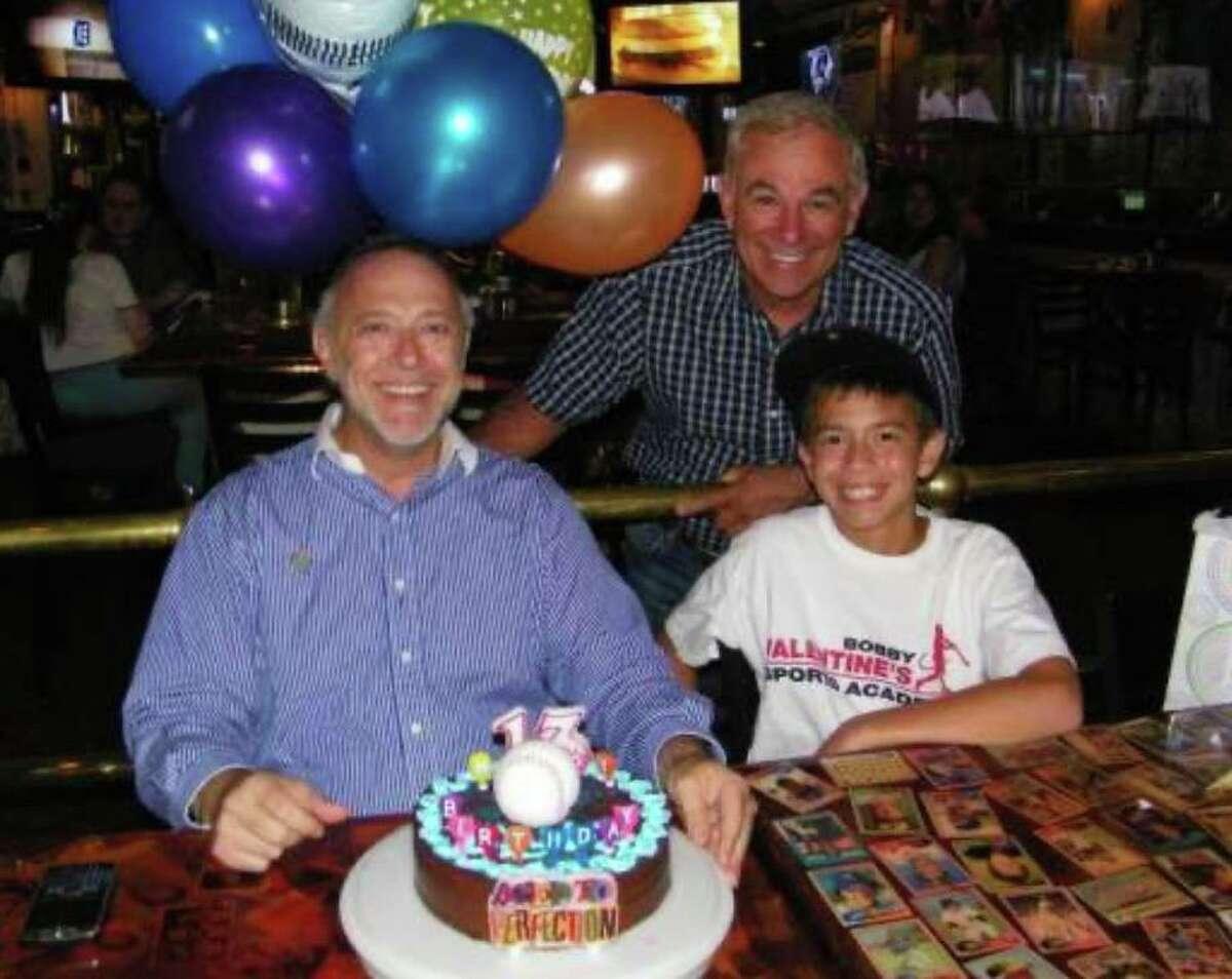 Sky Mercede Sr and Sky Mercede II celebrating their birthdays at Bobby V's in Stamford in 2010 with Bobby Valentine.