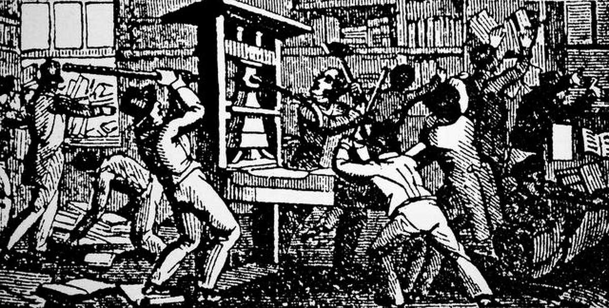 A woodcut engraving depicts the destruction of the abolitionist printing press of the Alton Observer on July, 20, 1837. The press was attacked and the editor Elijah Parish Lovejoy was shot by a drunken mob.