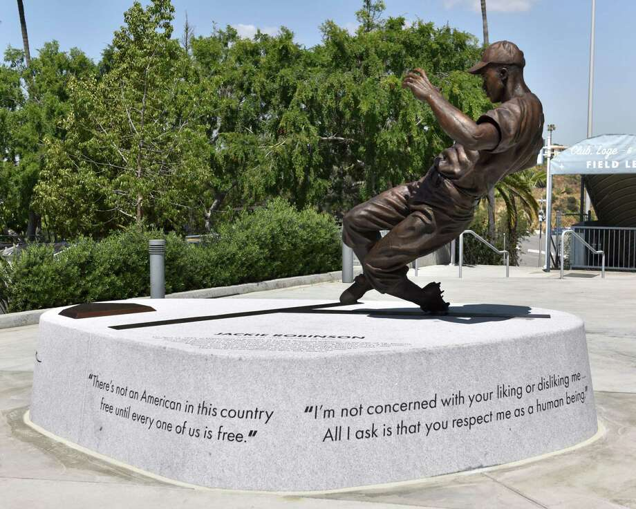 The Jackie Robinson statue at Dodger Stadium, sculpted by Branly Cadet of Oakland, was unveiled April 15, 2017. Photo: Jon SooHoo / Los Angeles Dodgers / ©Los Angeles Dodgers,LLC 2017