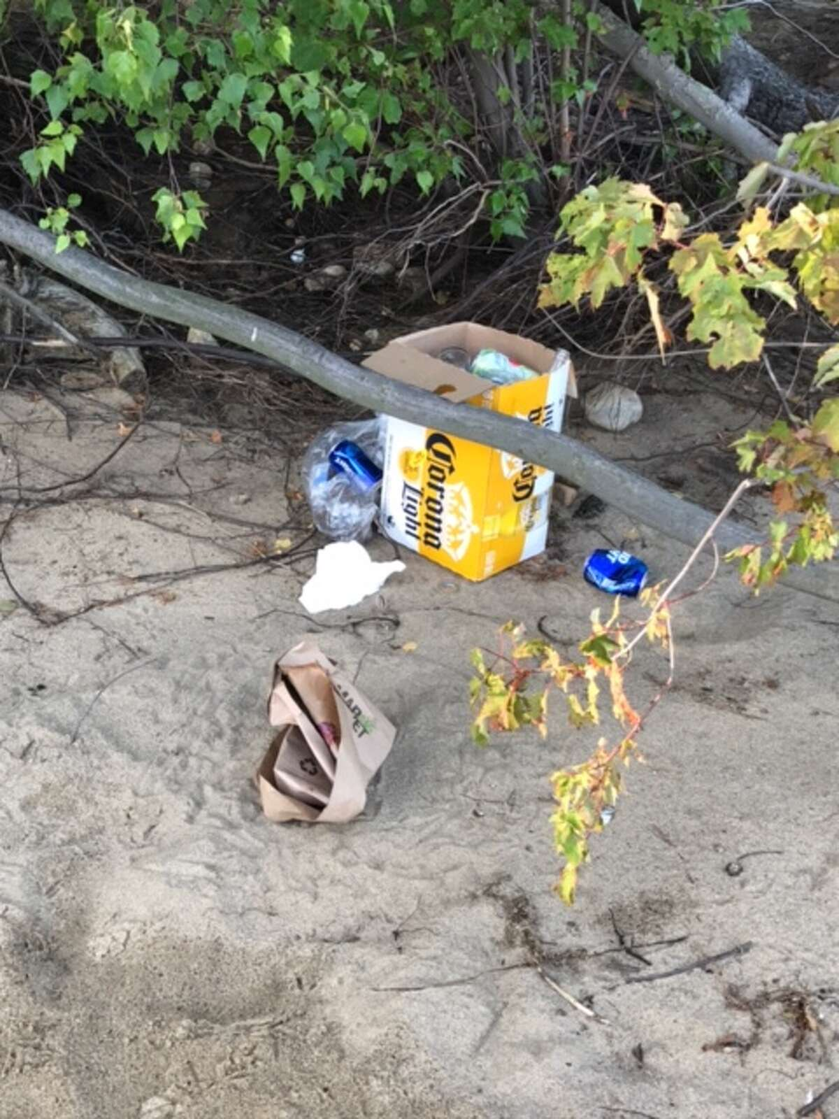 Visitors to Sand Island in the Great Sacandaga Lake left their garbage there in the summer of 2017. (Fulton County Sheriff's Department photo)