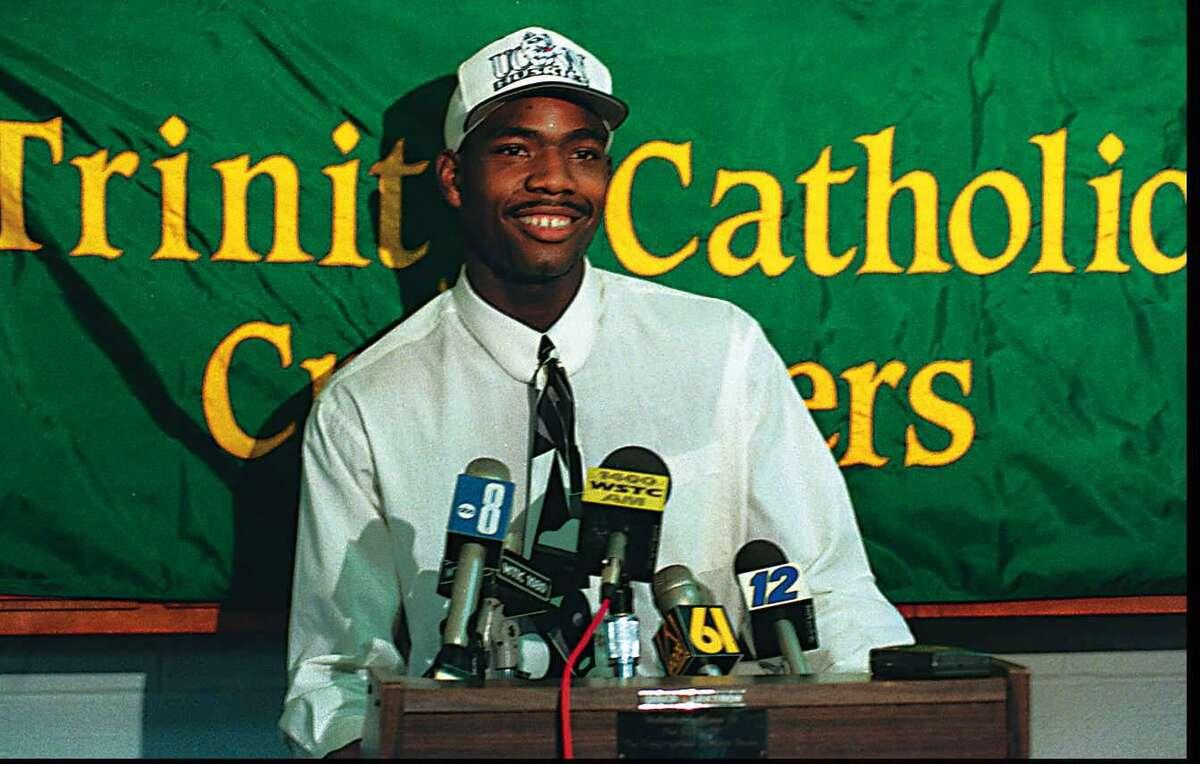 Trinity Catholic's Rashamel Jones announces he will attend UConn on Sept. 26, 1994.