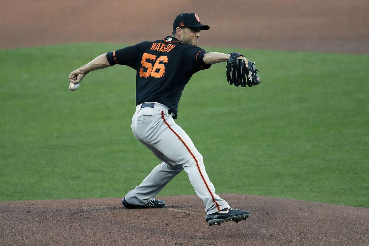 San Francisco Giants' Tony Watson pitches during a baseball practice on Friday, July 17, 2020, in San Francisco. (AP Photo/Ben Margot)
