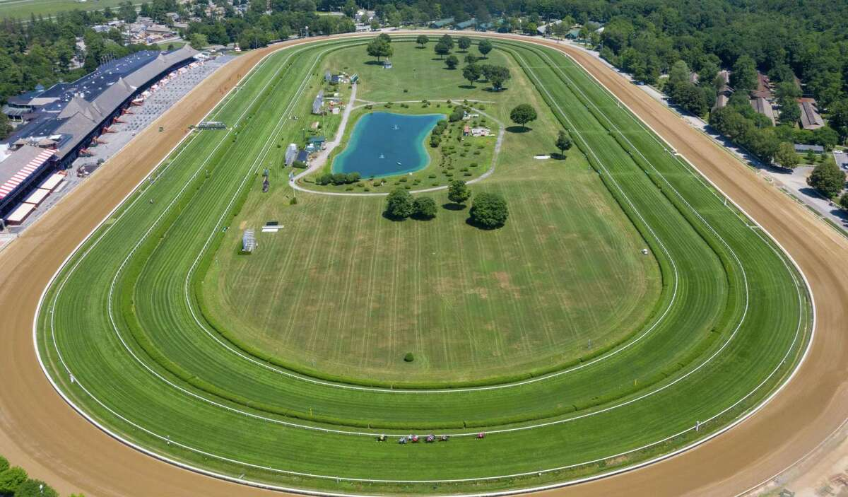 An aerial view of the second race at the Saratoga Race Course, which was run without fans because of the COVID-19 pandemic, in Saratoga, NY, on Saturday, July 18, 2020 (Jim Franco/special to the Times Union.)