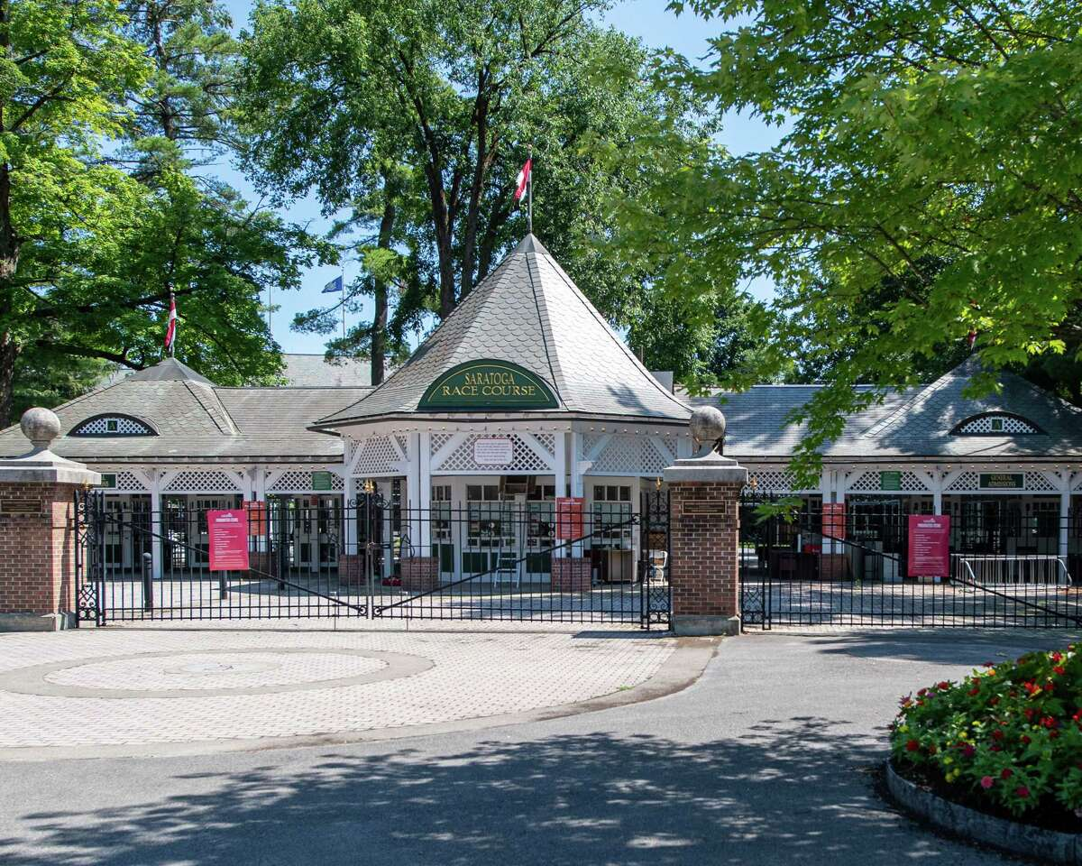 Fans cannot attend the Saratoga Race Course because of the COVID-19 pandemic so the iconic entrance along Union Street in Saratoga, NY, was gated on Saturday, July 18, 2020 (Jim Franco/special to the Times Union.)