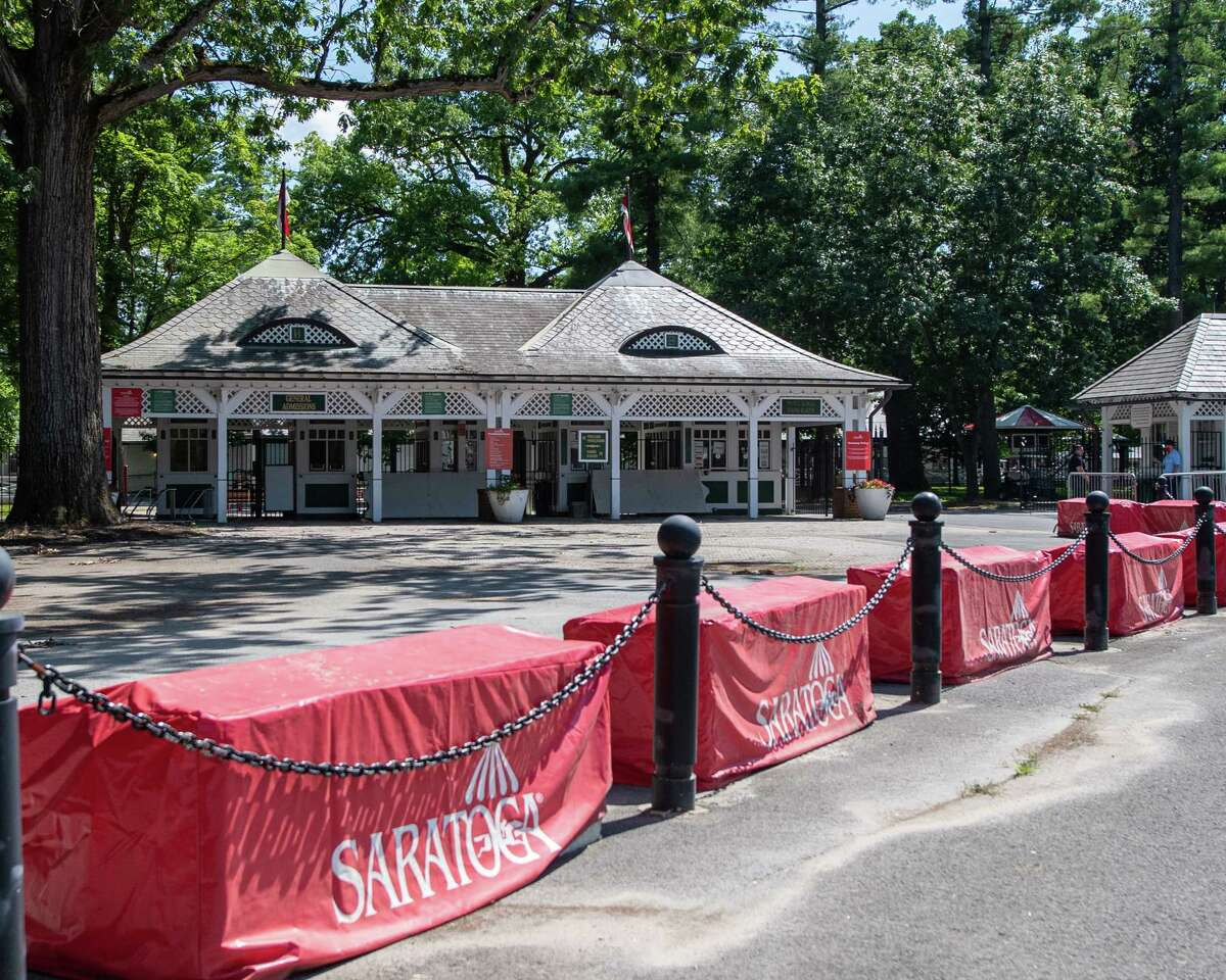 Fans cannot attend the Saratoga Race Course because of the COVID-19 pandemic so the entrance along Nelson Street in Saratoga, NY, was empty on Saturday, July 18, 2020 (Jim Franco/special to the Times Union.)