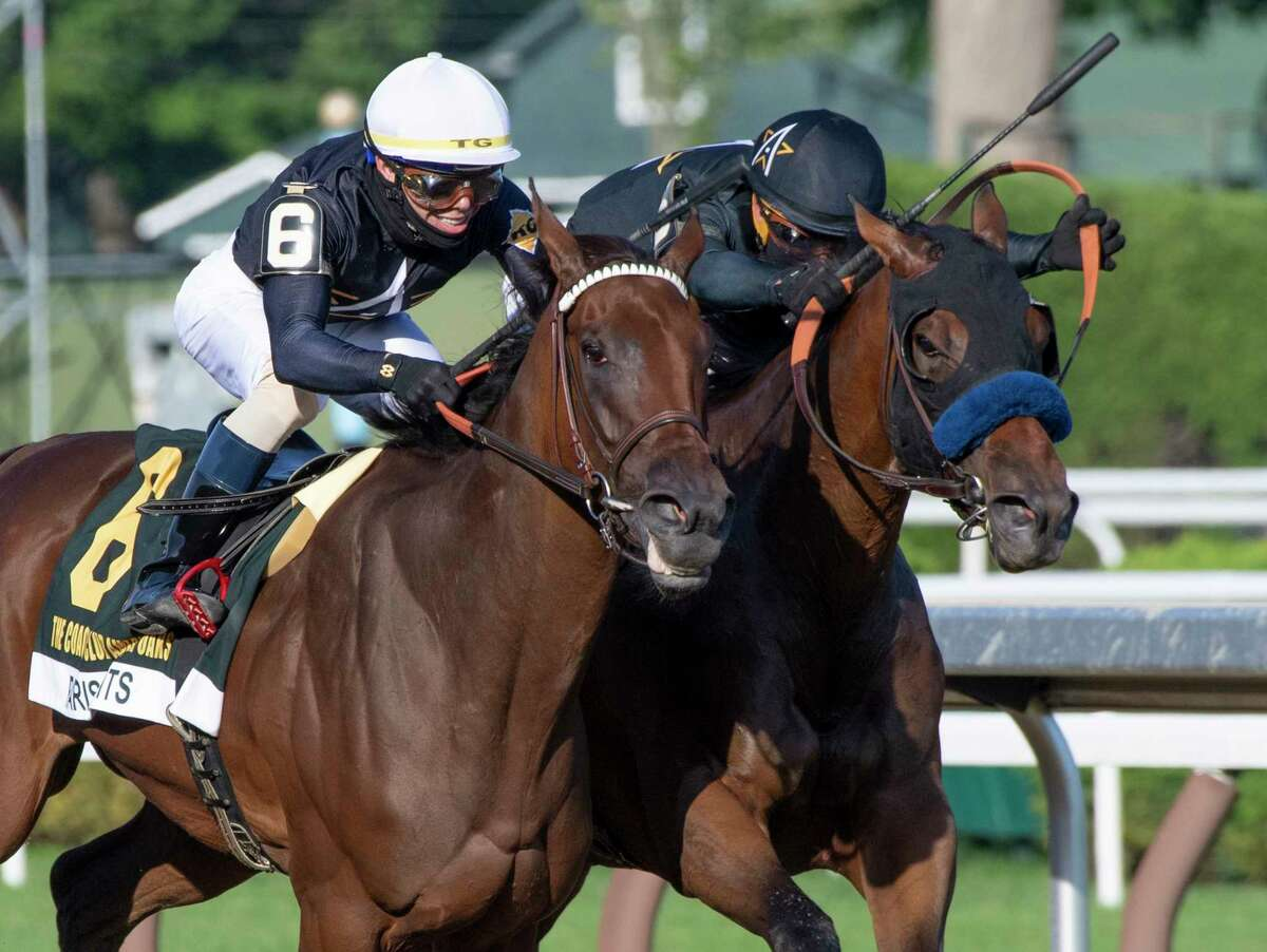 #6 Paris Light with jockey Tyler Gafalione out duels #5Crystal Ball with jockey Javier Castellano to win in the 104th running of The Coaching Club American Oaks at Saratoga Race Course July 18, 2020 in Saratoga Springs, N.Y. Photo by Skip Dickstein/Special to the Times Union.