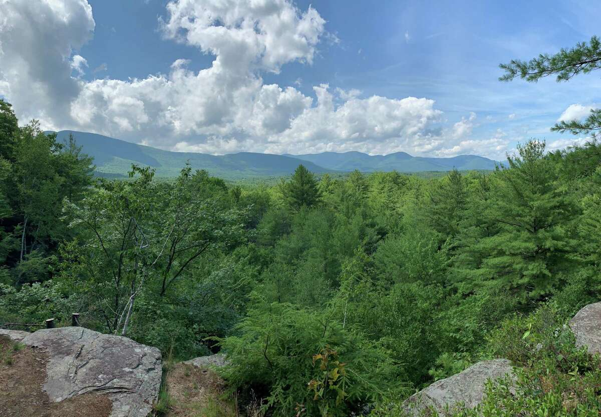 A view of the Catskill Mountains from the newly developed Ashokan Quarry Trail (NYC Department of Environmental Protection)