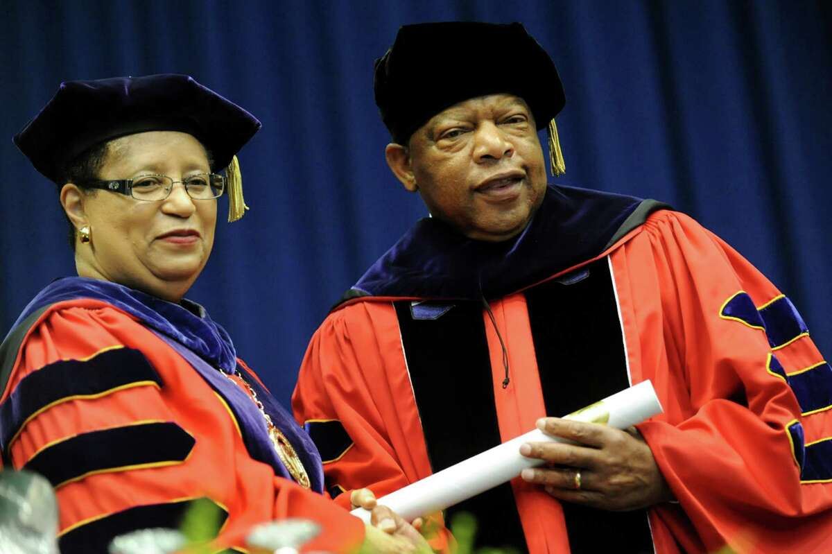 President Shirley Ann Jackson, left, poses with commencement speaker U.S. Rep. John R. Lewis, who received an Honorary Doctor of Laws during RPI college commencement on Saturday, May 25, 2013, at Rensselaer Polytechnic Institute in Troy, N.Y. (Cindy Schultz / Times Union)