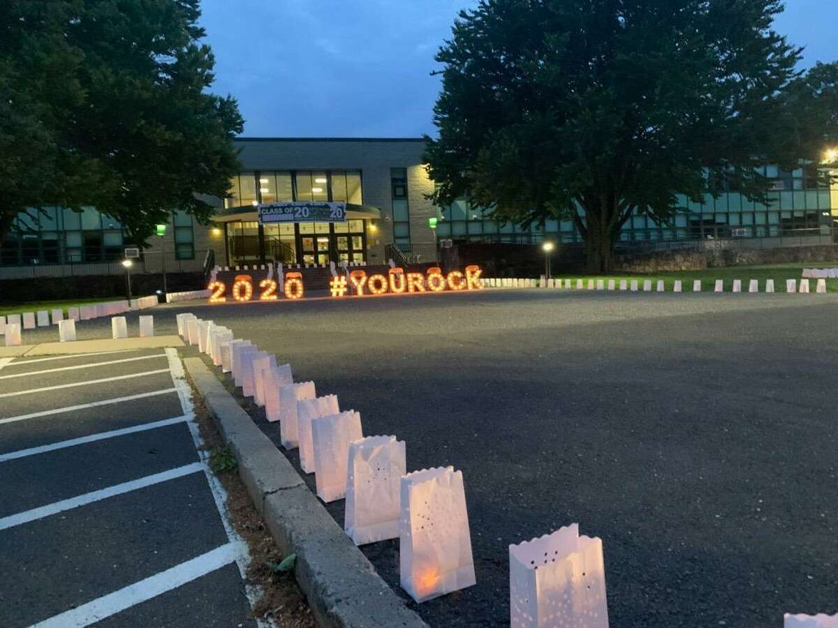 To honor the Rippowam Middle School Class of 2020, the Rippowam PTO organized a lights display in front of the school, recently. Rippowam families drove through the front of the school to enjoy the light display. The entire school community was able to enjoy the display virtually through videos and photos provided by the PTO.