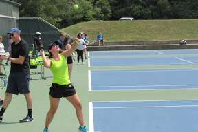 """More than two dozen Midlanders of all ages flocked to the Greater Midland Tennis Center to learn tennis basics at the first """"Taste of Tennis"""" event of the summer on July 18, 2020. (Mitchell Kukulka/Mitchell.Kukulka@mdn.net)"""