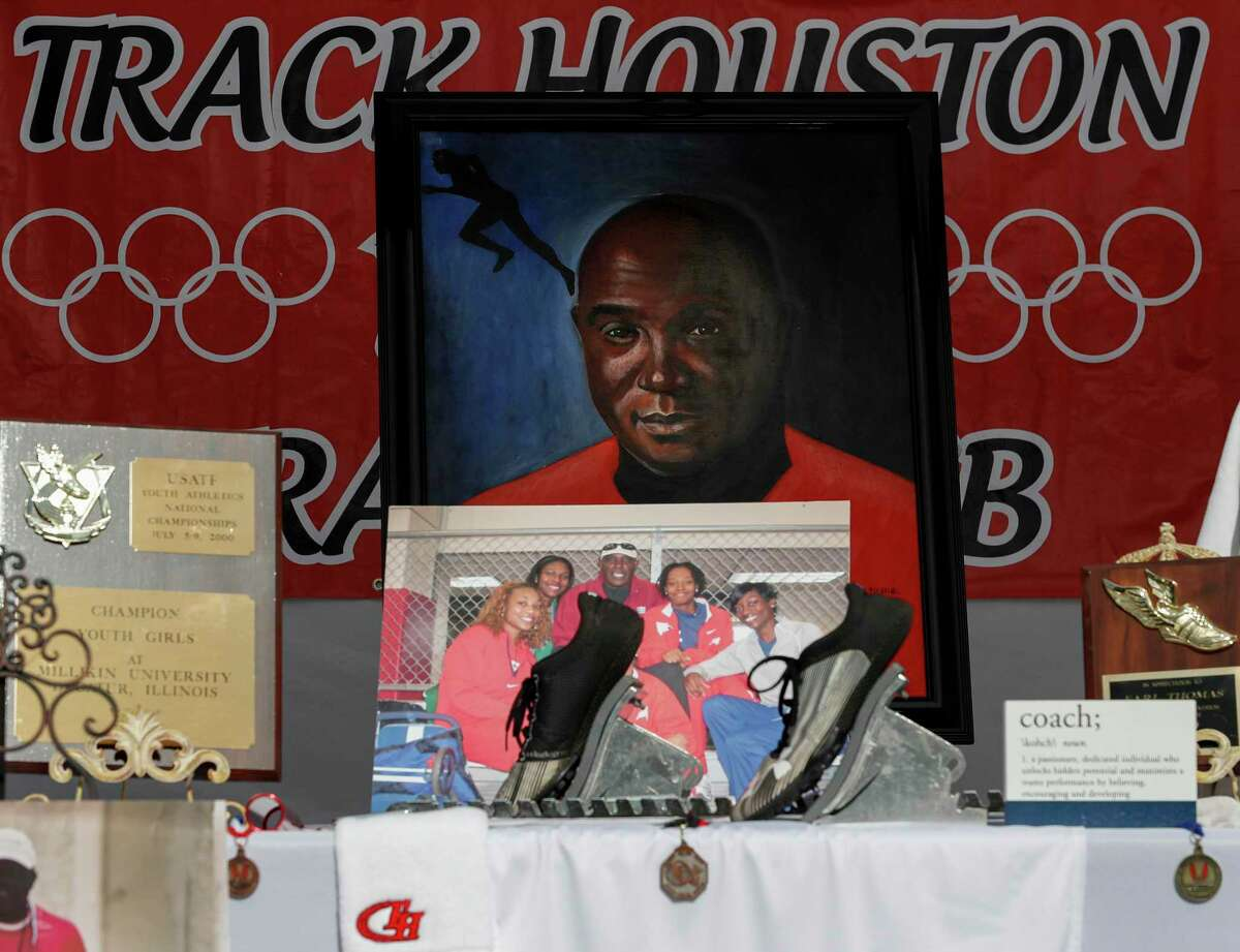 Those who attended Saturday's drive-thru memorial service for Earl Thomas saw aspects of his life represented in several tents like this one outside the University of Houston Alumni Center.