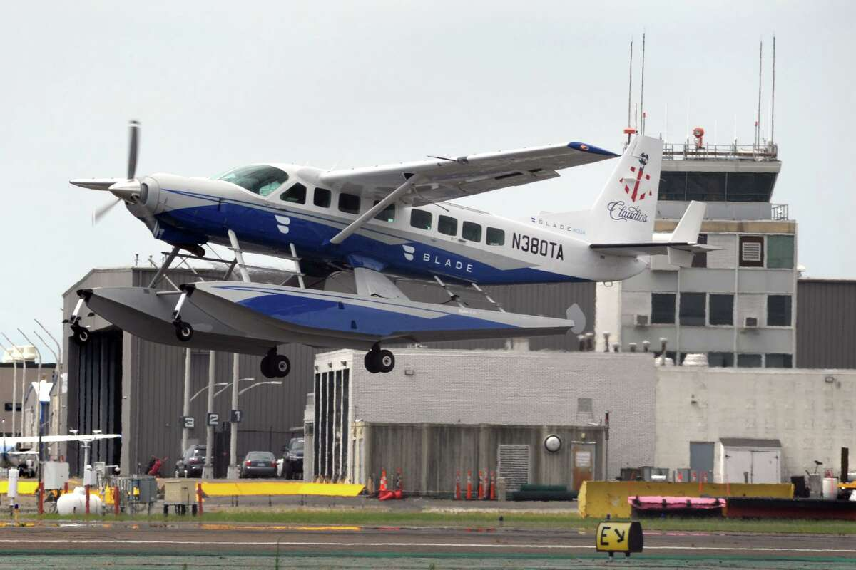 A chartered seaplane takes off from Sikorsky Memorial Airport, in Stratford, Conn. July 15, 2020.